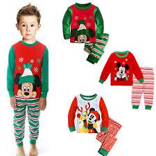 Christmas Mickey Mouse Sleepwear Kids Boy Girl Cotton Nightwear Pjs Pajamas 1-7Y