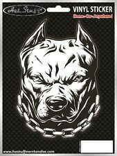 Pitbull Car Sticker - Dog - Angry - Chains - Window - Auto Decal
