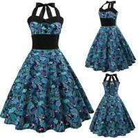 Dresses floral halter Dress Swing Party Sleeveless vintage Evening Retro women