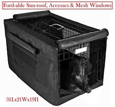 600D Dog Crate Pet Cage Kennel COVER w/ Fold-able mesh windows 30L 19W 21H inch