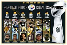 """6-TIME SUPER BOWL CHAMPIONS PITTSBURGH STEELERS 19""""x13"""" COMMEMORATIVE POSTER"""
