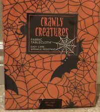 "Halloween Black And Orange Spiderweb Cloth Tablecloth 60"" X 104"" Bat Spider Lace"