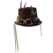 Vintage Gothic Steampunk Gear Feather Ribbon Black Top Hat Party Costume Hat