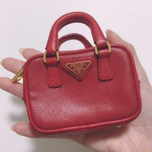 PRADA Saffiano Red Leather Mini Bag Pouch Coin Case 9cm×10cm,×3cm Used rare