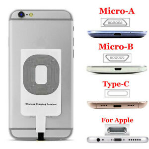 Ultra thin Qi Wireless Charger Adapter Receiver Fr iPhone Samsung Andriod Type-C
