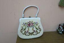 "Vintage 1960's Needlepoint / Petit Point Purse Bag Handmade 8"" x 11"" Floral"