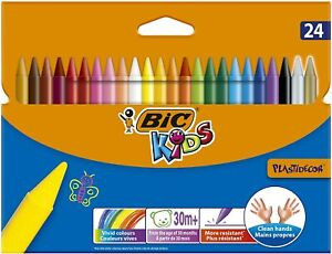 BIC Kids Plastidecor Wax Crayons Colouring Assorted Colours Drawing Crafts X 24