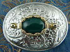 NUOVA Argento realizzato a mano in metallo fibbia della cintura verde DOLOMITE Cowboy Western Goth