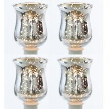 4 x Teelichthalter Bauernsilber Teelichtgläser Glasteelichthalter Partylicht