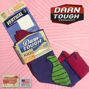 Darn TOUGH Vermont Vertical Over Calf MERINO WOOL Purple KIDS Sock Sz S/P 9-11.5