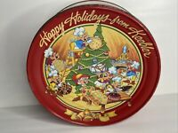 Vintage 1992 Keebler Christmas Red Cookie Tin Elves Making Cookies