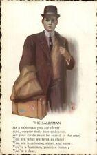 Brill - Salesman Man w/ His Suitcase - Poem c1910 Postcard