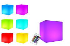 LED Design Cube 40 / LED Leucht Sitzwürfel / In und Outdoor / Farbwechsel und FB