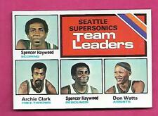 1975-76 TOPPS # 132 SUPERSONICS  TEAM LEADERS NRMT-MT  CARD (INV# A8589)