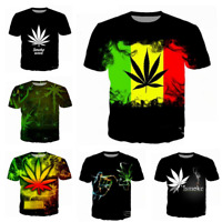 Womens/mens 3D print  Cigarette Weed  Short Sleeve Casual  Tops T-Shirts S-5XL