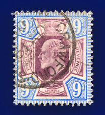 More details for 1905 sg250a 9d dull purple & ultramarine csp m40(1) crawford gu cat £75 chel