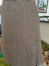 BNWOT Mixed Brown Checked Wool Skirt Winter Work Smart Office Suit Lined XXL
