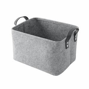 Filz Ablagekorb Bin + Griff Schlafzimmer Schrank Kleidung Aufbewahrungsbox Grau