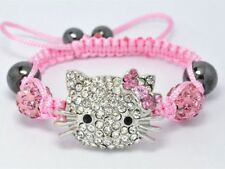 Lovely Cat Girl Childen kids Shamballa Bracelet Jewellery Chiristmas gifts AAAAA