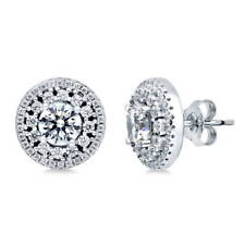 BERRICLE Sterling Silver Round CZ Halo Flower Anniversary Wedding Stud Earrings
