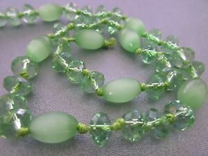 Green Chinese Crystal Roundel and Cat's Eye Barrel Beads