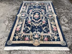 5x8 Oriental Chinese Aubusson Art Deco Hand Knotted Wool Rug