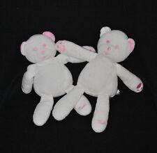 Lot 2 peluche doudou ours blanc rose MUSTELA MUSTI 23 cm TTBE