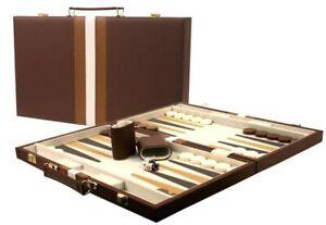 DA VINCI Large 16 inch Leatherette Backgammon Set, Brown