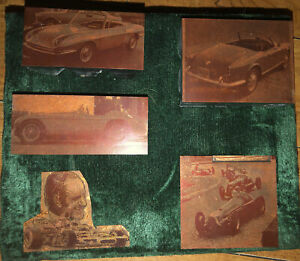Lot Of 5 Vintage Copper Printer Blocks Plates Of Various Racing Race Sports Cars