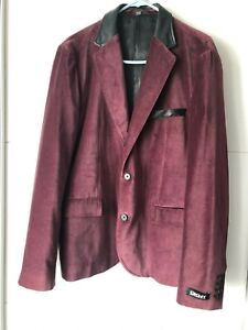 DKNY Mens Velvet Blazer - Burgundy - Size 42 R