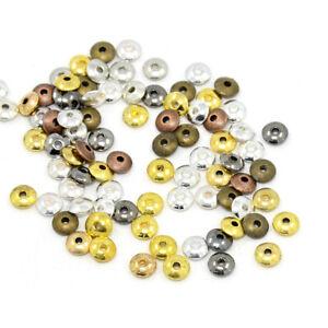 750pcs/200g Tibetan Alloy Metal Beads Tiny Smooth Loose Spacers Flat Round 6mm