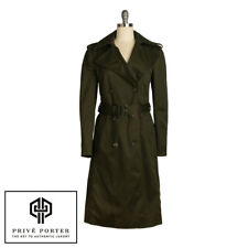 CELINE TRENCH COAT KNEE LENGTH DOUBLE BREASTED FOREST ARMY GREEN SIZE 40 US 10