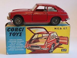 CORGI TOYS DIECAST MODEL MGB GT No 327 CLASSIC CAR RED BOXED OPENING DOORS ETC