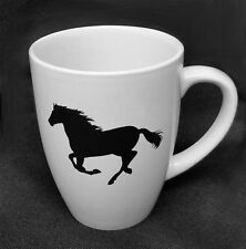 HORSE & WESTERN GIFTS DINNERWARE HORSE LOVERS SILHOUETTE  STONEWARE MUG WHITE