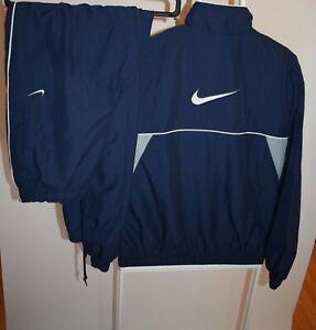 Vintage Nike Suit Big Swoosh Embroidered Navy Blue Men's Size S Oversize