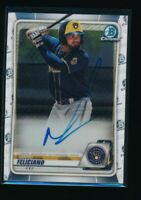 MARIO FELICIANO AUTO 1st 2020 Bowman Chrome Autograph Brewers Rookie Card RC