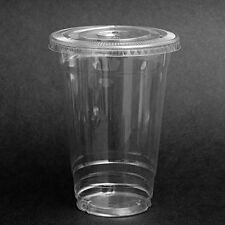 24 oz Plastic Iced Coffee Bubble Boba Tea Smoothie Cups with Flat Lids, 100-PCS