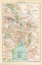 Stadtplan von ZÜRICH 1895 Original-Graphik