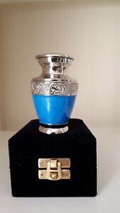 "Memorial Keepsake Cremation Ashes Urn 3"" Small - Light Blue Nickel"
