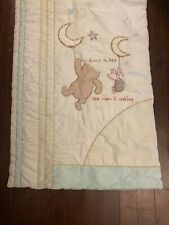 Classic Winnie Pooh Piglet Moon Star Crib Comforter Baby Blanket Hurry to Bed
