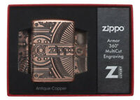 ZIPPO GEARS ARMOR ANTIQUE COPPER PETROL LIGHTER GIFT BOXED 29523