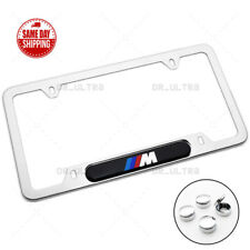 BMW M Power Sport Front Rear License Frame Plate Cover Stainless Steel Chrome