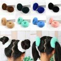 2PCS Women Girl Fluffy Faux Fur Furry Scrunchie Elastic Hair Ring Rope Band