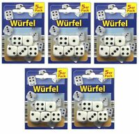 25er Set Spielwürfel weiß | Ersatzwürfel | Spiel Würfel Knobel Würfelset