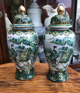 A Pair Of Chinese Vases And Covers. Hand Painted & Enamelled With Scenes Etc.