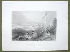 CANADA St. John City & Harbor Signal Tower - 1841 Engraving Print by BARTLETT