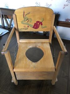 Vintage 1950's Wooden Bugs Bunny Potty Training Toilet