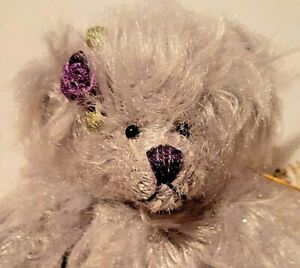 """LE Long Hair Teddy Bear:Jointed Neck! Signed,.6 1/2"""" tall..Grey Leah by GUND"""