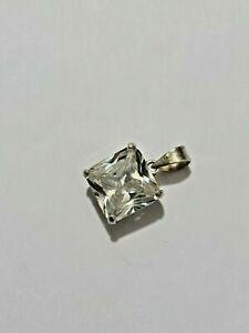 Gorgeous Sparkling Big White Topaz Stone Pendant 925 solid silver #7744