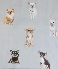 "Cute Chihuahua Puppy Dog on Grey Digital Print Heavy Cotton Fabric 60"" Wide"